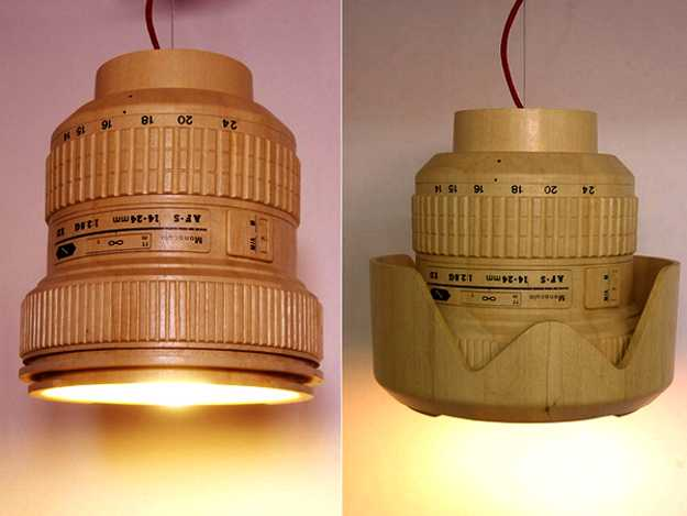 Unique Lighting Fixtures With Lamp Shades Made Of Cedar
