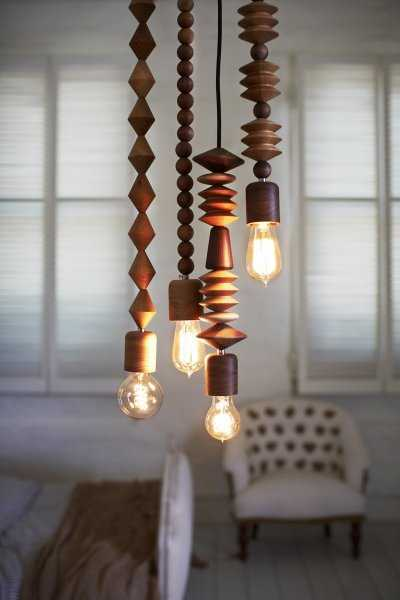 unique lighting fixtures made of wooden beads