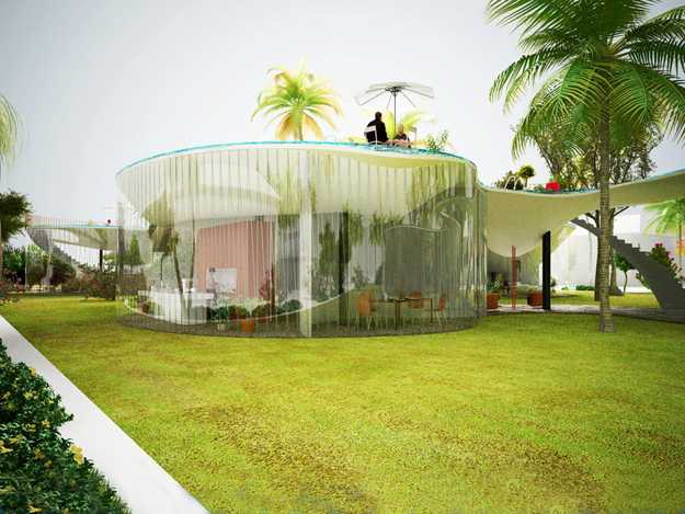 Spectacular rooftop pool house design with glass walls by for Rooftop pool design