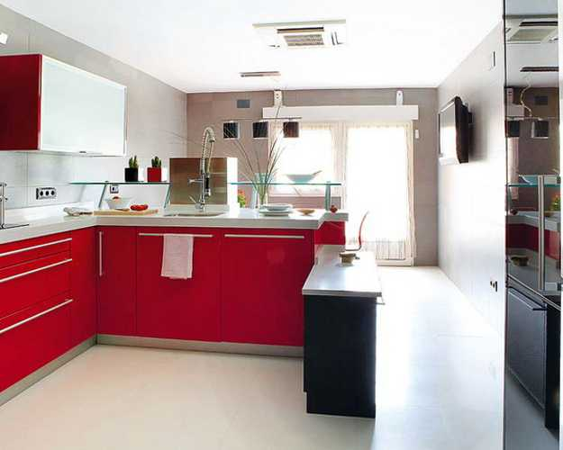 Red Kitchen Cabinets And Peninsula With Gl Shelf