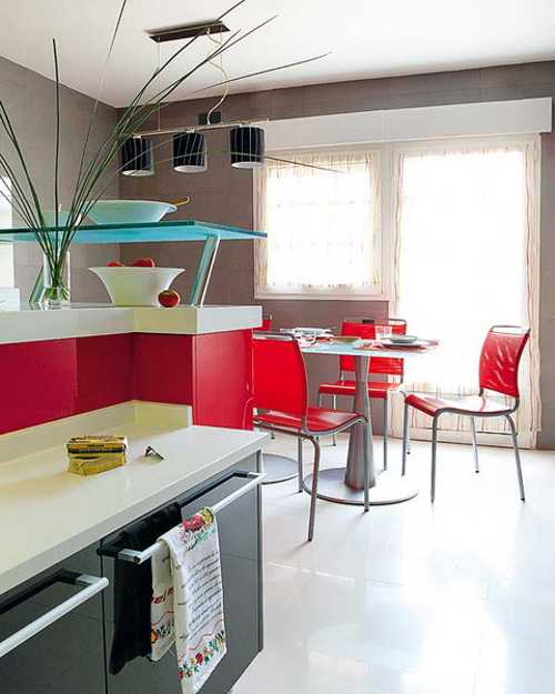 Contemporary Red Kitchen: 2 Modern Kitchen Designs In White And Red Colors Creating