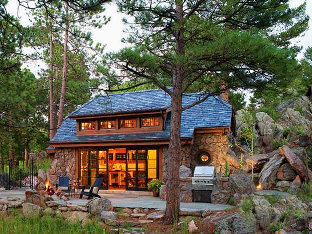 Modern House Exterior Design With Natural Stone And Wood