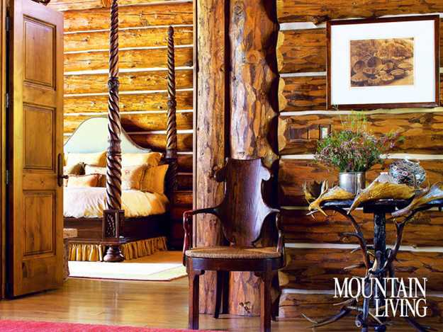 Carved Wood Furniture In Crafty Log Home