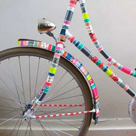 tape stripes in various colors for bike frame decorating