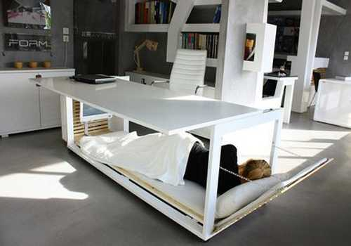 Space Saving Deskbed Design Idea Transforming Two Objects