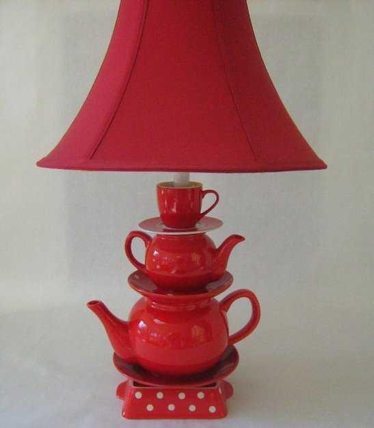 tea pots table lamp with red lamp shade
