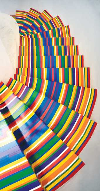 pattern created with vinyl tape stripes