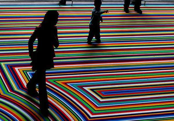 Modern Floor Decoration With Tape Strips Creating Cool