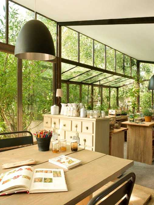 Spacious Wood Kitchen Design And Dining Area With Glass Wall. This French  Country Home ...