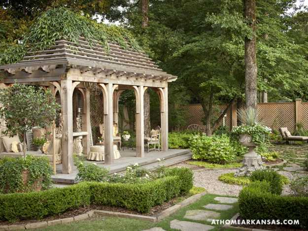 Beautiful backyard ideas and garden design blending for French style gazebo
