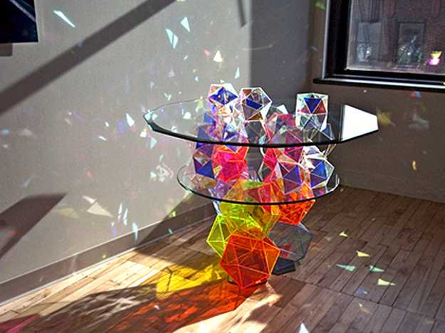 colorful glass top table design