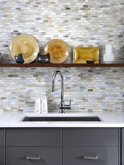 modern kitchen design with wooden shelf and mosaic wall tiles