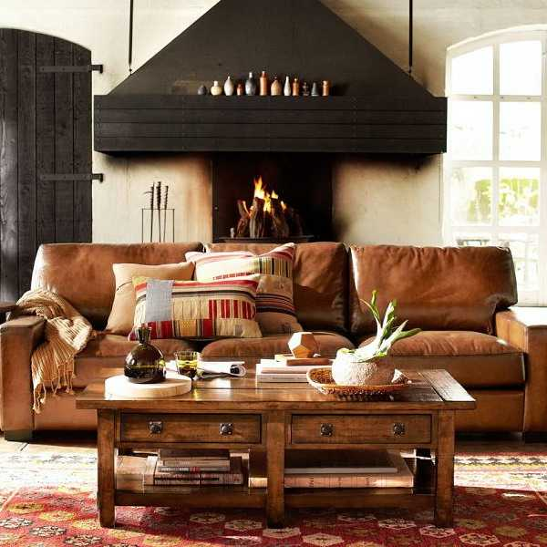 Modern Living Room Design With Black Fireplace, Wooden Coffee Table And  Kilim Floor Rug
