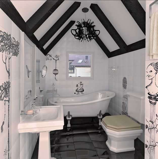 Black And White Decorating Ideas For Small Bathroom With Ceiling Beams