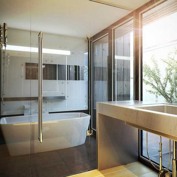 Remodeling Ideas: Elegant Modern Bathroom Design Blending Japanese