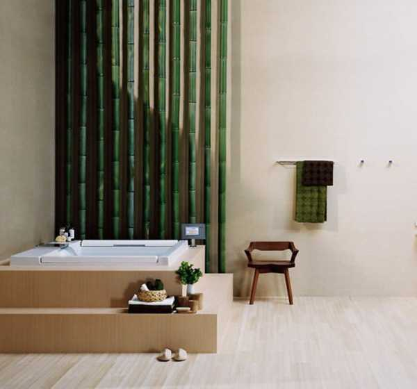 Japanese Living Room Design Ideas: Elegant Modern Bathroom Design Blending Japanese