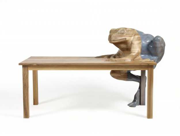 wooden table with frog