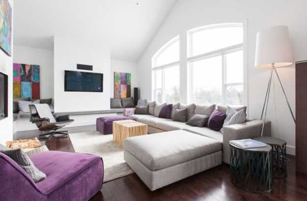 Living Room Design With Fireplace Gray And Purple Upholstered Furniture