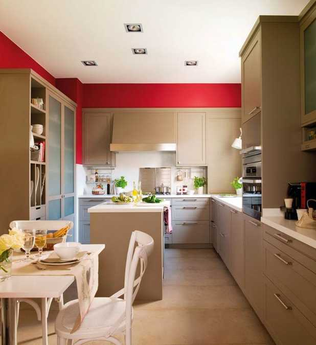 Charmant Modern Kitchen Design With Accent Walls In Red Color