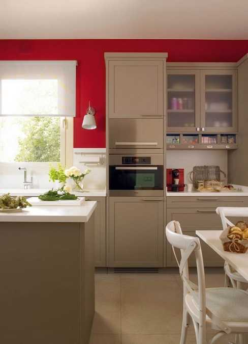Modern Kitchen Cabinets In Neutral Color And Red Wall Paint