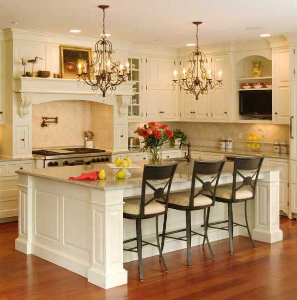 white kitchen cabinets and island design