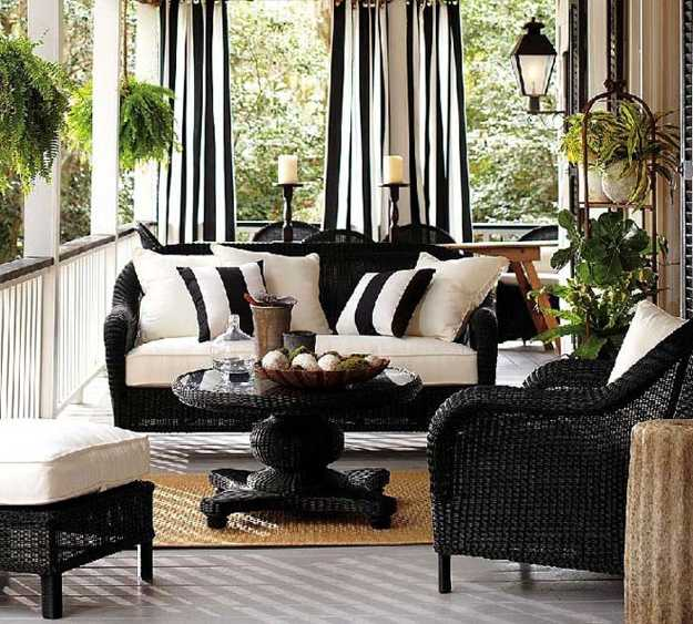 Beautiful Porch Decorating With Wicker Furniture And Black White Fabrics Stripes