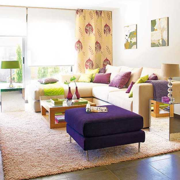 Modern Living Room Decorating With Purple, Red And Green Color Combination