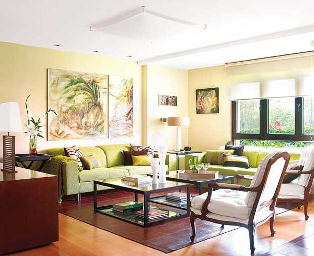 Modern Living Room Furniture And Artworks In Green Color