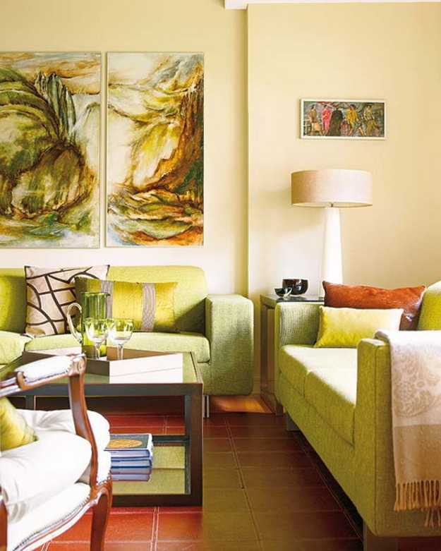 Green Living Room Design With Orange And Red Accents