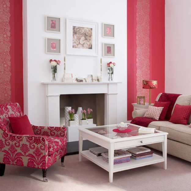 Dining Room Fireplace Ideas For Romantic Winter Nights: Red Interior Colors Adding Passion And Energy To Modern