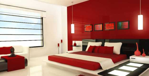Incroyable Red Wall Paint Color And White Chair Upholstery Fabric