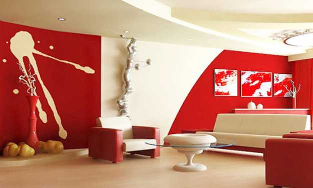 Red Wall Paint Color And White Chair Upholstery Fabric