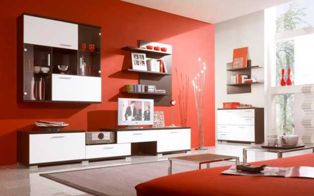 Red interior colors adding passion and energy to modern for Siti di interior design