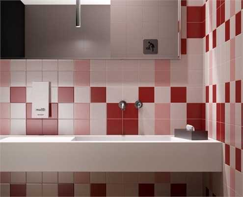 Red Kitchen Tile Design Ideas ~ Modern wall tiles in red colors creating stunning bathroom design