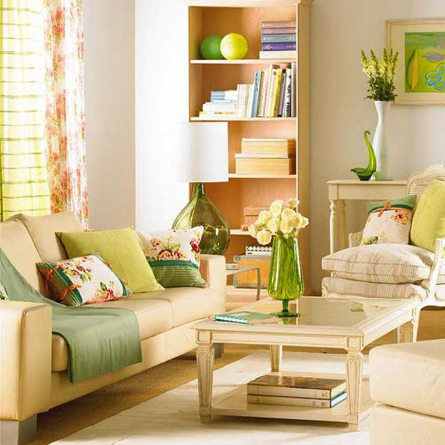 Light Green Living Room Design With Furniture In Neutral Colors