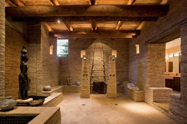Stone And Wood Bathroom Design With Open Shower Stone