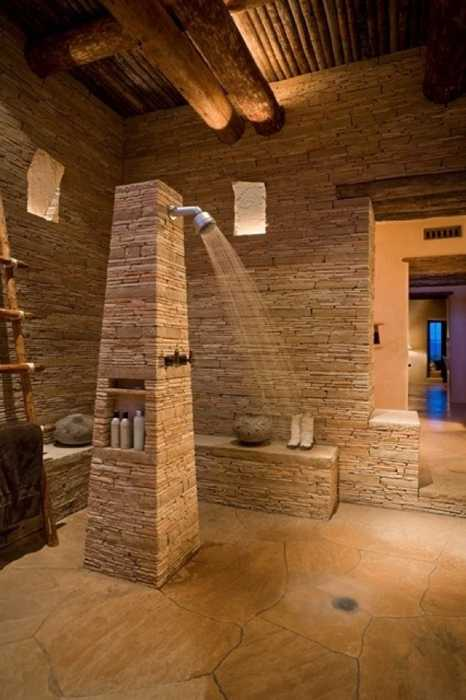 Stone And Wood Bathroom Design With Open Shower Stone Bathtub And