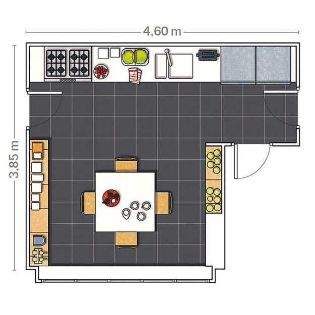Kitchen Design Drawing With Color: 2 Modern Kitchen Designs In White And Red Colors Creating Retro Modern Home Interiors