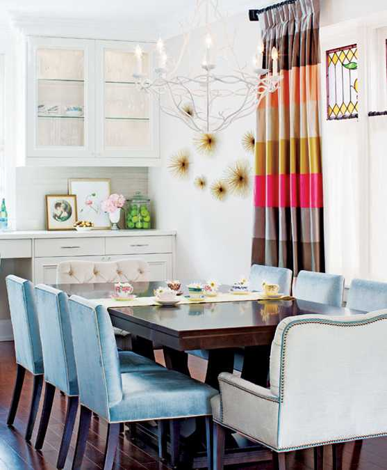 White Kitchen Cabinets And Lighting, Colorful Dining Furniture And Decor  Accessories