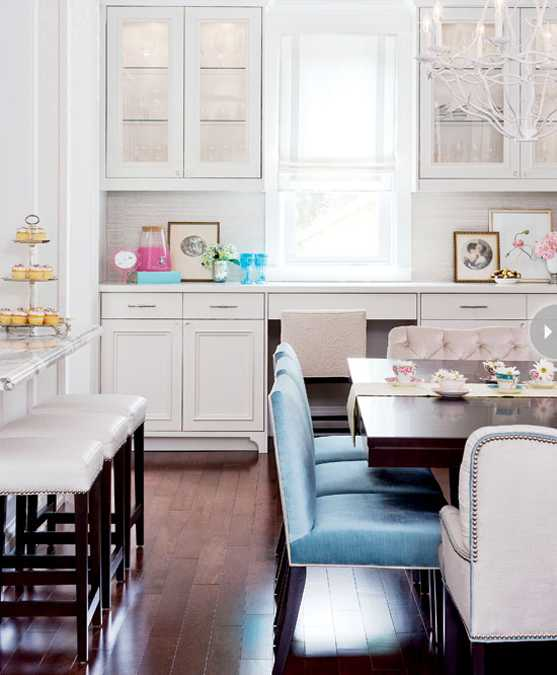 Rich Blue And Pink Interior Decorating Paint Colors And Modern Color Trends: White Kitchen Decorating With Colorful Accents In