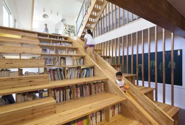 staircase design with kids slide