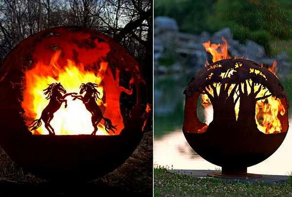 Fabulous Fire Pit Globes Adding Unique Yard Decorations To