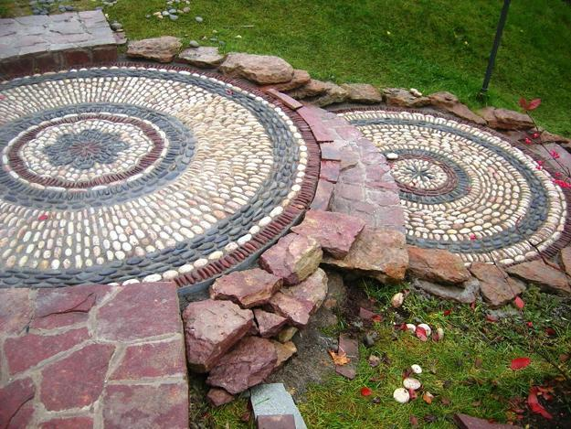 25 Unique Backyard Landscaping Ideas and Garden Path ... on Backyard Pebbles Design id=31616