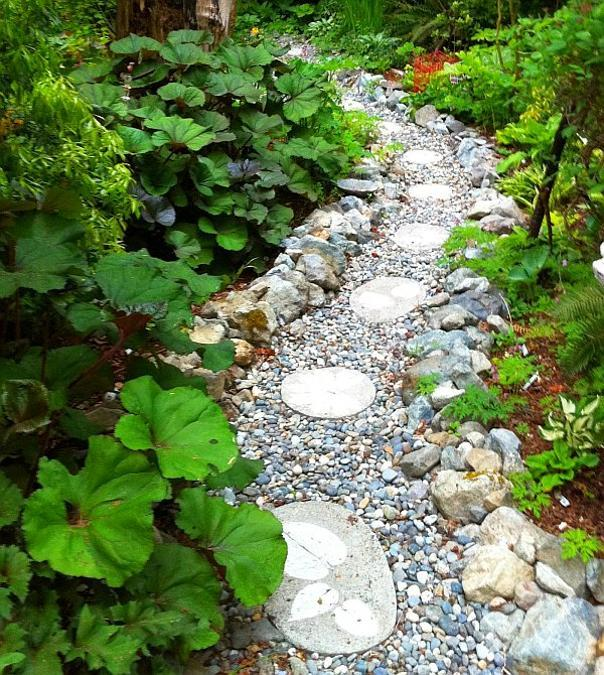 25 Unique Backyard Landscaping Ideas and Garden Path ... on Backyard Pebbles Design id=27671