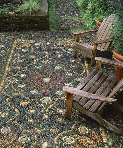 25 Unique Backyard Landscaping Ideas and Garden Path ... on Backyard Pebbles Design id=77311