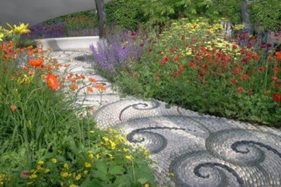 25 Unique Backyard Landscaping Ideas and Garden Path ... on Backyard Pebbles Design id=70324