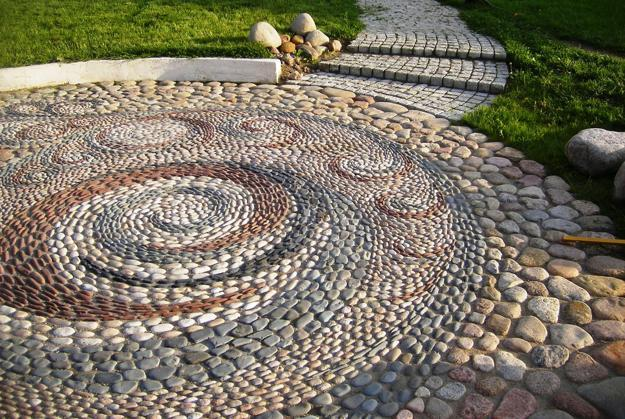 Beautiful Backyard Landscaping Ideas Mixing Decorative Pebbles And Pavers  For Unique Patio Designs