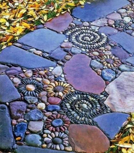 25 Unique Backyard Landscaping Ideas and Garden Path ... on Backyard Pebbles Design id=19083