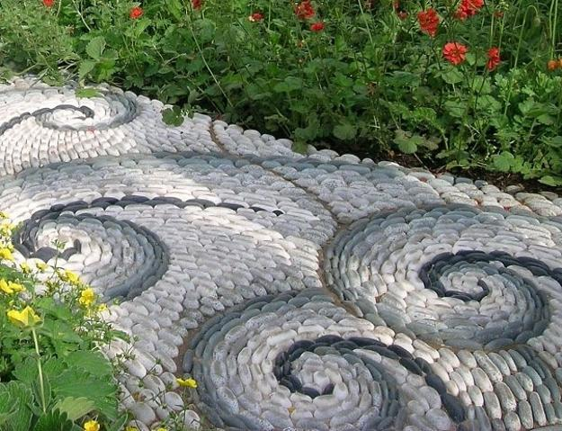 25 Unique Backyard Landscaping Ideas and Garden Path ... on Backyard Pebbles Design id=49120