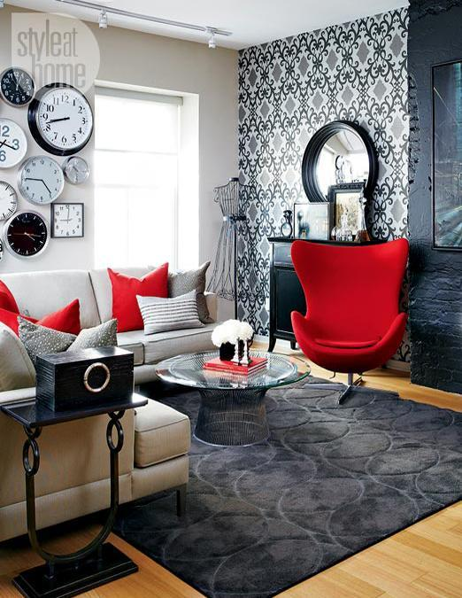 Loft Living Es Design In Black And White With Red Color Combination